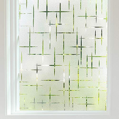 Finnez Pellicola per vetri Protezione della Privacy e della Luce Adesivo Decorativo per finestre in Vinile Autoadesivo Aspetto per l'home Office Soggiorno Cucina (Schema a Croce) (44.5 × 200 cm)
