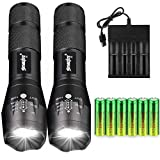 Skywolfeye 2 Packs LED High 2000 Lumen 18650 Flashlight Handheld Tactical with 6Pcs 3.7v Rechargeable Battery and 1pcs 4 Bay USB Battery Charger,Ultra Bright Zoomable, 5 Modes for Indoor Outdoor