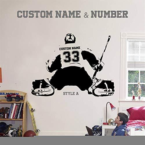 pegatina de pared 3d Portero de hockey y jugador de hockey sobre hielo grande Elija el nombre y los números de la camiseta Calcomanías deportivas Habitación para niños