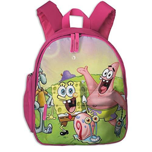 Mochila Escolar de Bob Esponja  de Lona Universal para niños y niñas  Rosa  : Pink