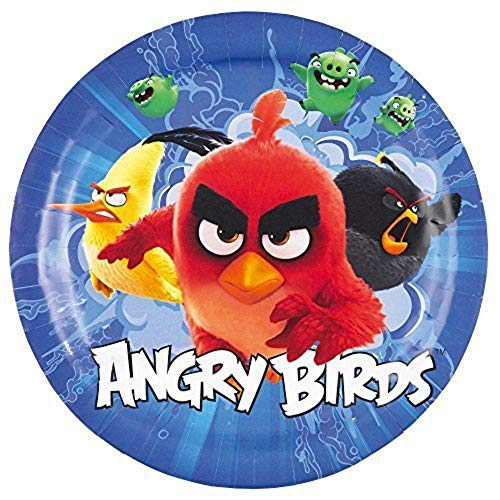 CAPRILO. Lote de 24 Platos Infantiles Decorativos de Cartón Angry Birds Ø 23 cm. Vajillas Desechables. Juguetes y Regalos Fiestas de Cumpleaños, Bodas, Bautizos y Comuniones.