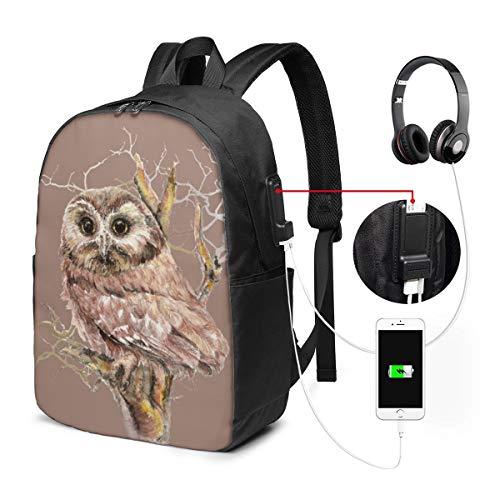 Reise-Laptop-Multifunktions-Reisetaschen, Canvas-Schulter-Daypack-Rucksack Mit USB-Ladeanschluss Und Kopfhörerloch Für Teenager Mädchen Jungen -Aquarell-Steinkauz-Vogel-Natur