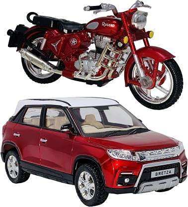 Sheel® Breeza Toy car with Bullet Toy Bike for Kids Best Birthday Gift for Kids Made in India Toy (Colour Assorted, As Per Availability )