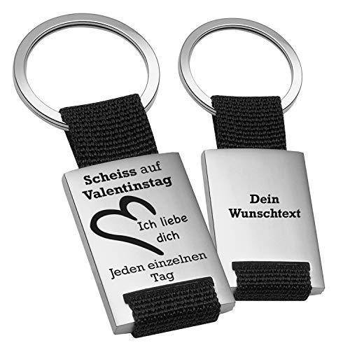Schlüsselanhänger Scheiss auf Valentinstag: personalisierte Schlüsselanhänger mit Gravur mit Wunschtext auf Rückseite Freund I Freundin