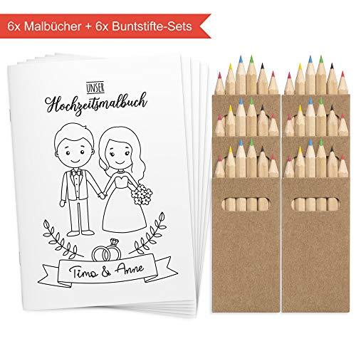 Wedding Shop Love Grows 6 Stück DINA6 Hochzeitsmalbuch mit Buntstifte-Set / 24-seitiges Malbuch zur Hochzeit für Kinder Gastgeschenk Mitgebsel