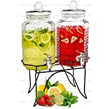 Double Cold Beverage Dispensers – Two 1 Gallon Hammered Glass Pitchers on 1 Metal Stand - Elegant Party Buffet Centerpiece for Iced Tea, Lemonade and Punch Drinks - by Lux 'n Lavish