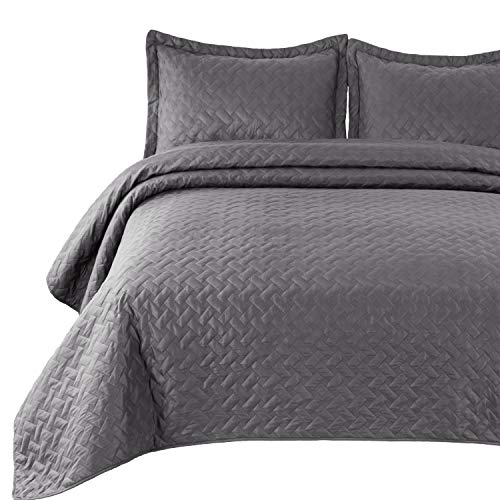 Bedsure Quilt Set Grey King Size (106x96 inches) - Basket Weave Pattern Bedspread - Soft Microfiber Lightweight Coverlet for All Season - 3 Pieces (Includes 1 Quilt, 2 Shams)