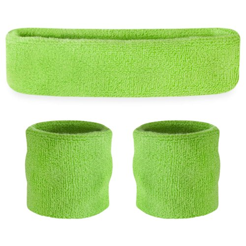 Suddora Neon Green Headband/Wristband Set - Sports Sweatbands for Head and Wrist