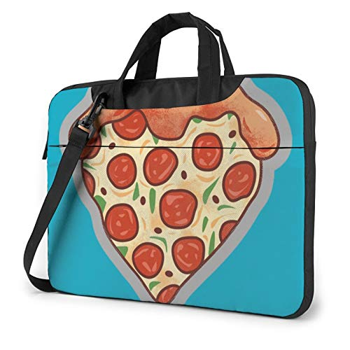 Bolsa de hombro para portátil – al aire libre con diseño de paisaje impreso a prueba de golpes impermeable para portátil, I Love Pizza Heart, 13' (33 cm),