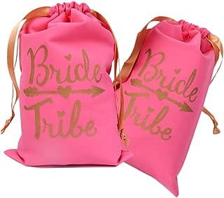6pcs 7''x11'' Gold Foil Bride Tribe Bridesmaid Gift Bags, Drawstring Bags for Bridal Shower Bachelorette Hen's Party Hangover Kit Hangovers Bag(Pink)