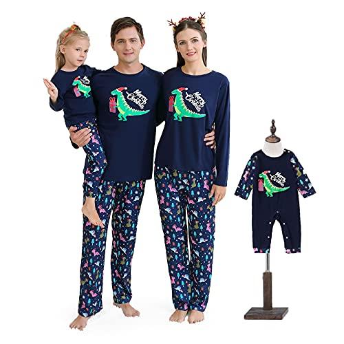 Conjunto de Pijama Familiar a Juego con diseño de Dinosaurios de Feliz Navidad, colección de Pijama para papá, mamá, bebé (XL, Hombres)