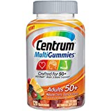 Includes 120 gummies of Centrum MultiGummies Adult Multivitamin / Multimineral Supplement crafted for age 50+ Formulated with 100% or more of the daily value of the essential nutrients Vitamins D, B12 and E More Vitamin D3 than any other gummy multiv...