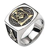FORFOX Herren Breit Bicolor Titan Freimaurer Ring Platz G & Säulen & Alles sehende Auge Master Mason Gold Ton 67