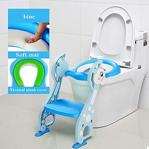 PLID Sedile WC per Bambini Sedia da Toilette Vasino Riduttore WC per Bambini Forma Ergonomica con scaletta,Antiscivolo,Resistente,Design Pieghevole e Regolabile in Altezza per i più Piccoli 1-7 Anni