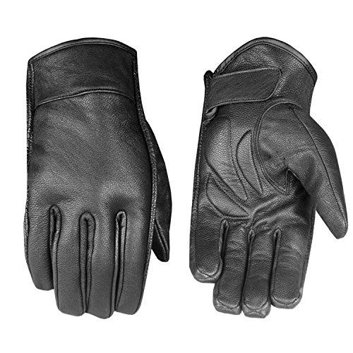 Men's Premium Black Leather Motorcycle Gloves Cruiser Combat Touring Biker Gel Palm Riding Short Cuff Racer L