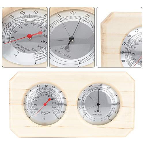 2 in 1 Thermo-Hygrometer, Holz-Thermometer-Hygrometer-Temperatur-Feuchtigkeitsmesser-Hygro-Thermometer-Sauna-Dampfraum-Zusätze