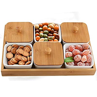 Snack Serving Tray, 6 Compartment Removable Ceramic Bowls with Bamboo Lid and Tray, 6 Ounce Candy Serving Dishes for Food Snacks, Condiments, Appetizers, Nuts, Dipping - Set of 6