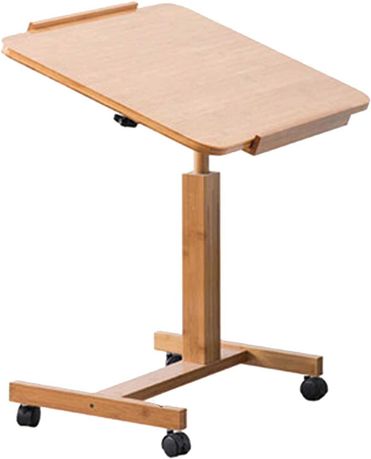 Coffee Table Folding Table Mobile Writing Desk Adjustable Desktop Multifunction Lazy Lifting Desk, Bamboo (Size   60  40 cm)