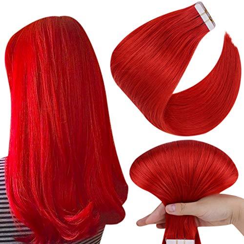 Hetto Tape Extension Adesive Cheveux Naturel Rouge Tape in Extensions de Cheveux Humains Invisibles 20 Pouces Extensions Vrai Cheveux Lisse 10 Pièces 25g par Paquet
