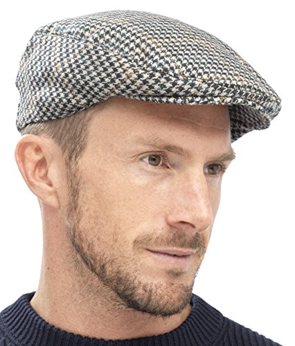 Tom Franks Herren Kariert Wollmischung Tweedkappe Flach - grau, L/XL