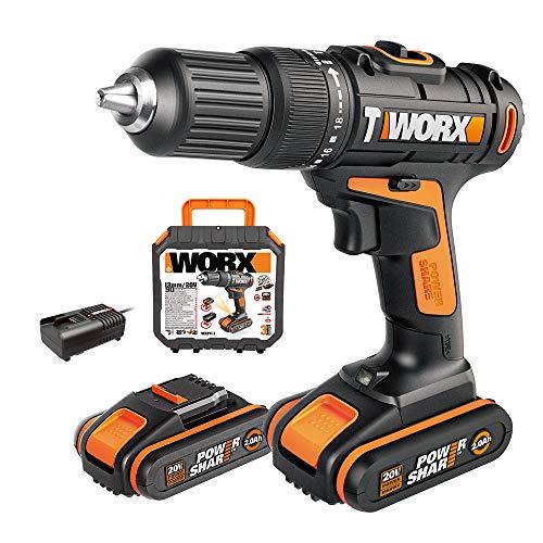WORX Taladro percutor inalámbrico WX371.1, 2 Ah, 2 baterías, PowerShare, 2 velocidades, maletín, portabrocas de 13 mm, 18+1+1 niveles de par de giro, taladro atornillador de percusión.