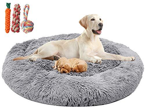 Orthopädisches hundebett flauschig für große und extra große Hunde mittlere hunde,Donut Weiches Plüsch Rundes hundekissen waschbar deepsleep calming bed fluffy loop hund (L: 90cm Durchmesser,Hellgrau)