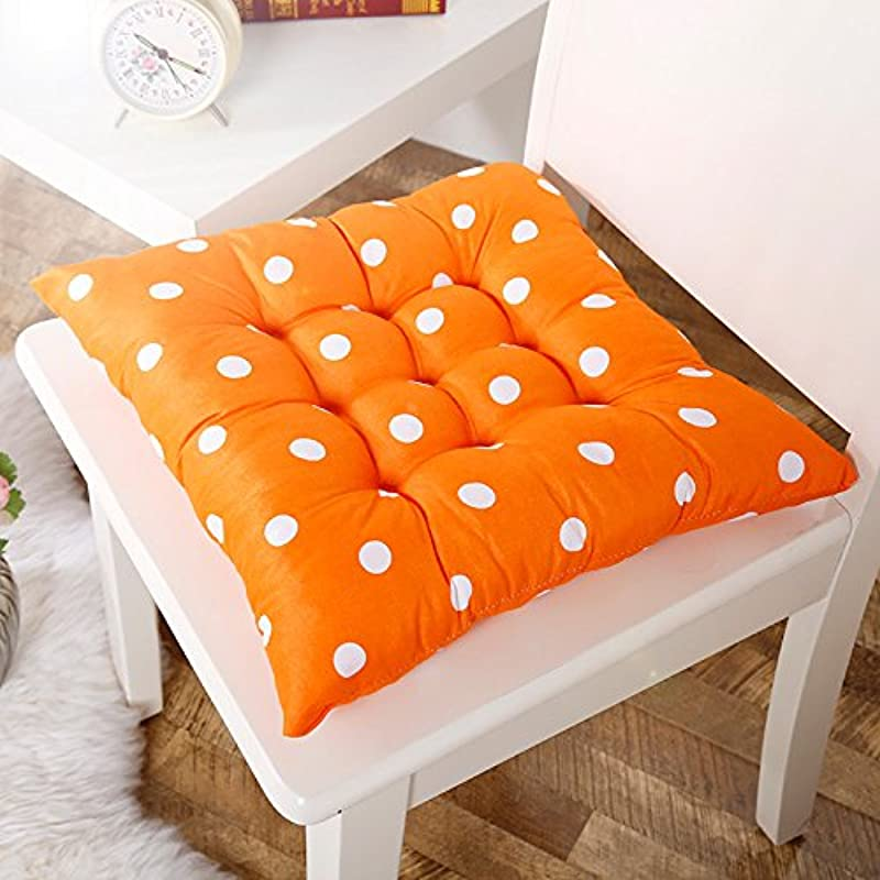 Voberry Soft Home Office Square Cotton Polka Dot Seat Cushion Buttocks Chair Cushion Pads Orange