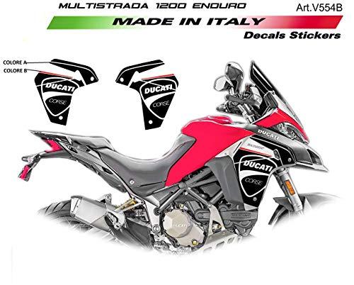 Ducati Multistrada 1200/1260 Enduro, stickers voor zijbekleding  Blanco Y Gris