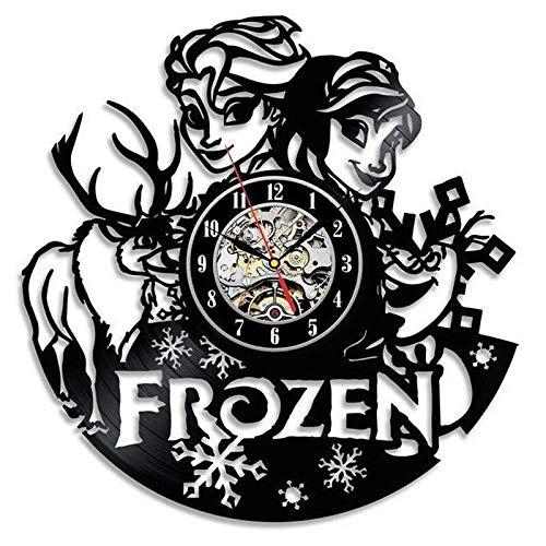 Vinyl Musikplatte Cute Cartoon Frozen Vinyl Wanduhr Modernes Design Mädchen Raumdekoration Elsa Anna 3D Aufkleber Vinyl Schallplatte Uhr Wanduhr