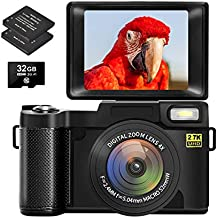 Digital Camera Vlogging Camera for YouTube with Flip Screen Cameras for Photography 2.7K UHD 30MP 3.0 Inch Camera with Retractable Flashlight with 32GB Memory Card and 2 Batteries