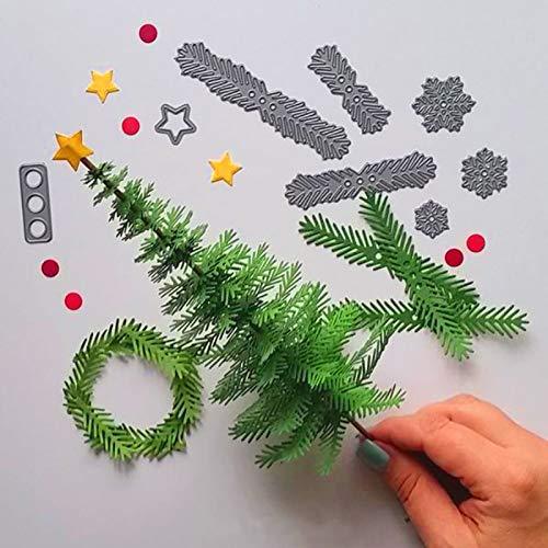 Gudotra 8pcs Kit Juego de Troqueles Navidad Plantillas Estarcir Repujado Cortan para Tarjeta Papel Scrapbooking Álbum Árbol de Navidad Cutting Dies(8pcs)