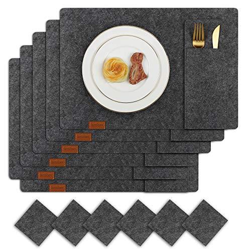 Famibay Filz Tischsets und Utersetzer Dunkelgrau Bestecktaschen Abwaschbar Platzdeckchen Filzuntersetzer Platzsets 6er Set