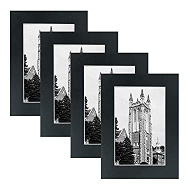 Mat Board Paper Picture Frames - Multi Pack Frame Set 4pc Wall gallery photo collage artwork and flat low profile kit BLACK. No Nails Required. Hanging strips included. (4x6)