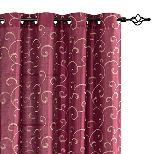jinchan Curtains Burgundy Red 95 inches Living Room Drapes Faux Silk Dupioni Swirl Embroidery Grommet Top Window Treatment Set Embroidered Drapery Bedroom Curtain Set 2 Panels