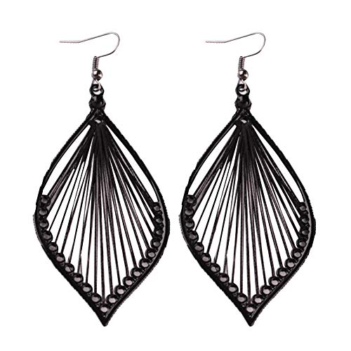 Fashion Metal Hollow Colorful Leaf Pendant Drop Hook Earrings Statement Jewelry (Black)