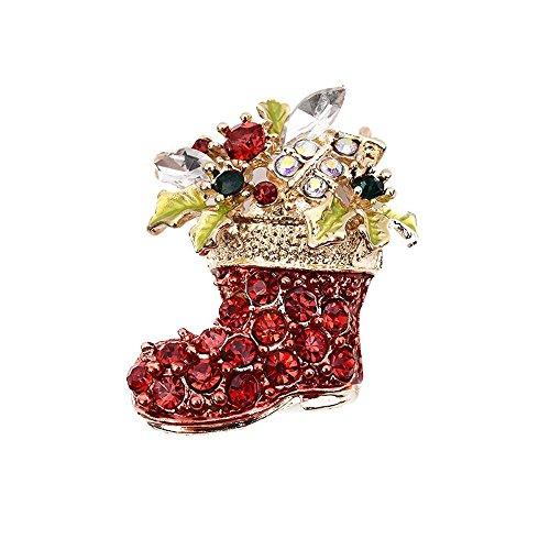 Luziang Broches y alfileres Broche de Diamante Zircon Navidad Botas Broche Zapato...