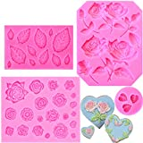 JOERSH Rose Fondant Mold 4 Pack, Rose Flower and Leaf Silicone Mold for Cake Topper Decoration Chocolate Sugar Crafts