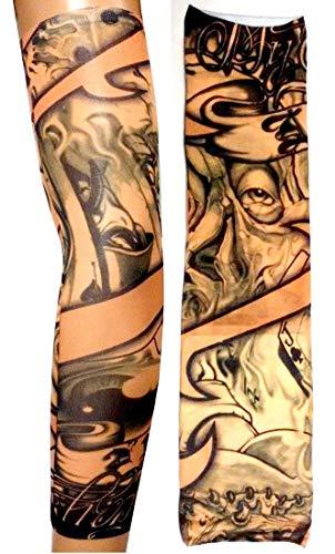 W05 - model 64 - tattoo mouw - draagbaar - mouw - nep tattoo - afbeelding - oog - kaarten - schrijven - tatoo - halve mouw - tribal joker