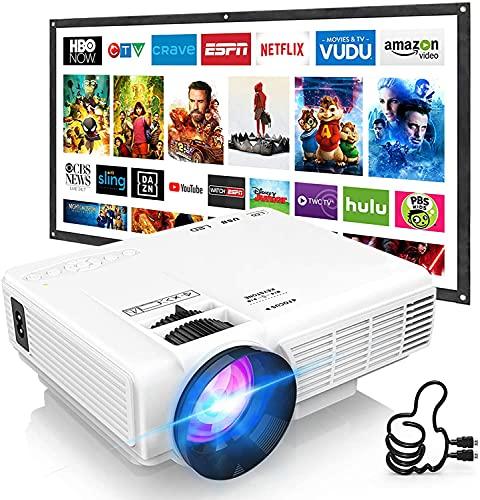 DOOK Proyector 6000 Lúmen Mini Proyector, Soporte 1080p HD Portátil LED Proyector, con Pantalla de Proyector de 100 Pulgadas,40,000 Horas de Vida, de Cine en Casa Soporte HDMI,USB,VGA,TF, y TV Stick