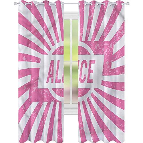 YUAZHOQI Cortinas opacas para oscurecimiento de habitación, color rosa Alice Grunge Look Drape para puerta de cristal de 132 x 274 cm (2 paneles)