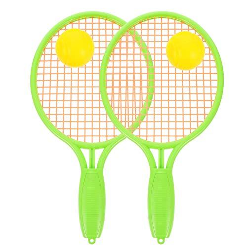 TOYANDONA Conjunto de raquete de tênis infantil com bola de plástico, raquete de tênis, brinquedos para crianças pequenas, esportes ao ar livre, atividades de verão e praia