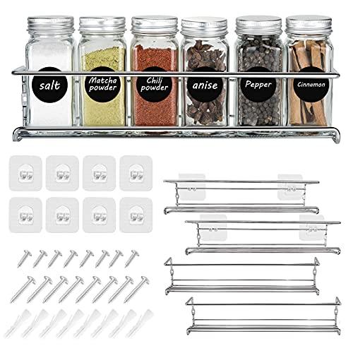 Organizador Especias Autoadhesivo, Set de 4 Estantes de Metal, Especiero de Cocina, Organizador de Condimentos para Puerta de Despensa o Armario, Plateado