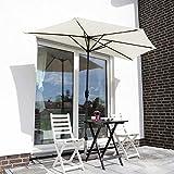 Sekey® semicircular sombrilla Parasol para terraza jardín Playa Piscina Patio diámetro 270 cm Protector Solar UV50+, Crema