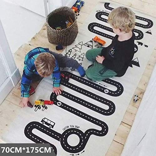 no brand Baby Play Mat Soft Crawling Rugs Car Track Pattern Puzzles Learning Toy Nordic Style Kids Room Decoration Floor Carpet,4