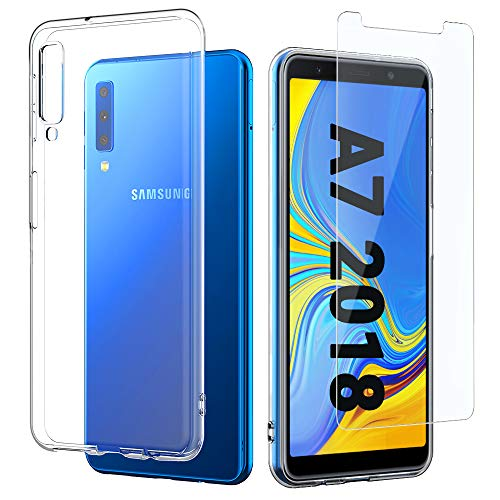 EasyAcc Hülle Hülle Für Samsung Galaxy A7 2018, Panzerglas 9H Schutzfolie + Crystal Clear Transparent Handyhülle Cover Premium-TPU Durchsichtige Schutzhülle Für Samsung Galaxy A7 2018/A750