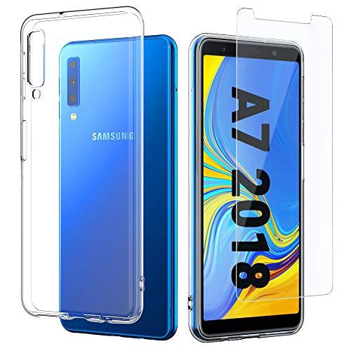 EasyAcc Custodia + Pellicola in Vetro Temperato Compatibile con Samsung Galaxy A7 2018, Morbido TPU Cover Cristallo Limpido Trasparente Slim Anti Scivolo Protezione Case Antiurto