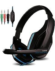 AFUNTA, gaming-headset voor PS4, PC, iPhone, intelligent, telefoon, laptop, tablet, iPad, iPod, mobiele telefoons, MP3 MP4, X1-S 4-pins 3,5 mm jack, multifunctioneel spel hoofdtelefoon met microfoon