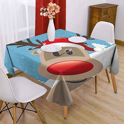 Christmas Waterproof Square Table Cloth 36 x 36 inch Festival Tablecloth Warm Feeling Reindeer Rudolph with Red Nose and Santa Claus Hat Snowy Forest Light Blue Red Light Brown