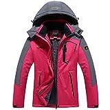 Women's Waterproof Ski Jacket Winter Warm Snow Coat Windproof Mountain Raincoat Snowboarding Hooded Jackets(Rose Red,L)