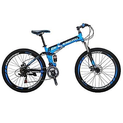 Kingttu G6 Mountain Bike 21 Speed 26 Inches Regular Spoke Wheel Dual Suspension Folding Bicycle Blue